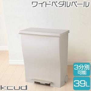 日本製kcud/クード ワイドペダルペール 39L ベージュ キャスター付き 袋止め付き 45Lポリ袋対応 庫内分別可 スリム ペダル式 ごみ箱 ゴミ箱 岩谷マテリアル|heartmark-shop