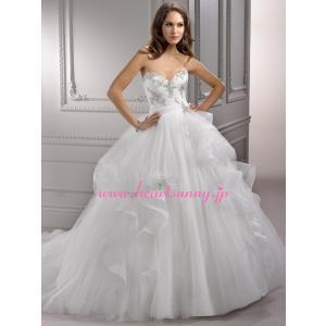 ウェディングドレス ハートネック 透明感ソフトチュール トレーン A284|heartsunny