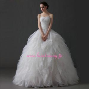 ウェディングドレス ハートネックビスチェ かわいい 折り目&フリル A291|heartsunny
