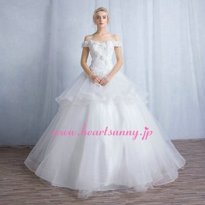 ウェディングドレス 花柄Vネックオフショルダー ティアード オーガンジーショートトレーン 編み上げ B135|heartsunny