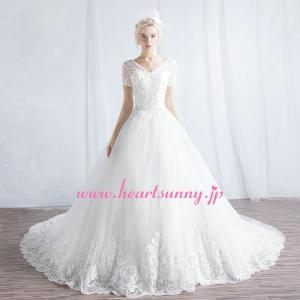 ウェディングドレス Vネックフレンチ袖 ベアバック 編み上げ ロングトレーン B145|heartsunny