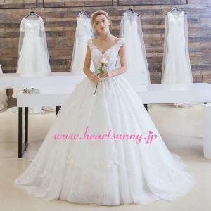 ウェディングドレス Vネックタンクトップ 透明感&涼しい ベアバック 編み上げ ロングトレーン B146|heartsunny