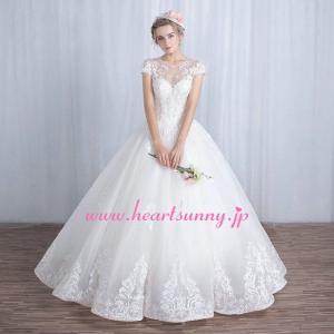 ウェディングドレス 透明花柄レース丸首フレンチ袖 ベアバック 編み上げ B150|heartsunny