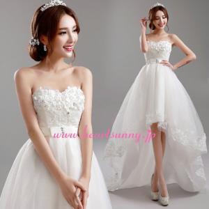ウェディングドレス トレーンのあるハイロードレス 花飾り E283|heartsunny