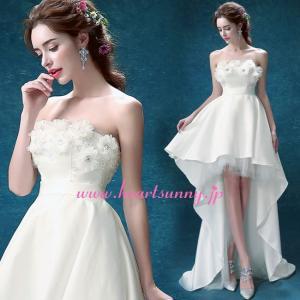ウェディングドレス トレーンのあるハイロードレス 花飾り ふわふわスカート E284|heartsunny