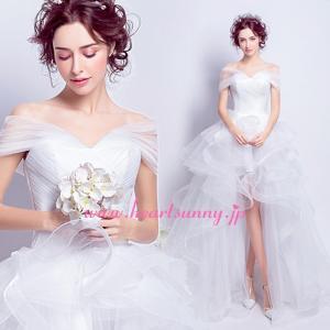 ウェディングドレス トレーンのあるハイロードレス ふわふわフリル トレーン E287|heartsunny