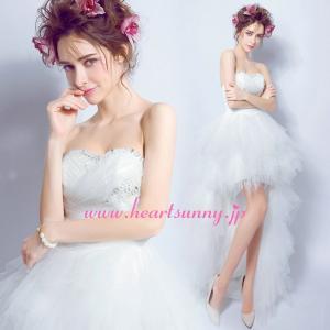 ウェディングドレス トレーンのあるハイロードレス ビーズ&スパンコール飾り折り目ビスチェ 羽感じソフトチュール 編み上げ E288|heartsunny