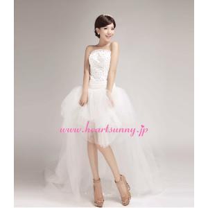 ウェディングドレス スパンコール飾りビスチェ ふわふわソフトチュール トレーン ハイロードレス E291|heartsunny