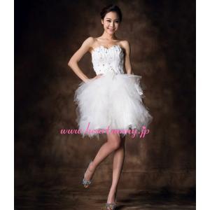 ウェディングドレス ストーン飾りハートネックビスチェ 編み上げ ふわふわソフトチュール E292|heartsunny