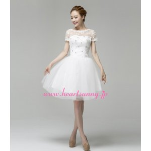 ウェディングドレス 透明感レースフレンチ袖 ストーン飾りハートネック 編み上げ E294|heartsunny