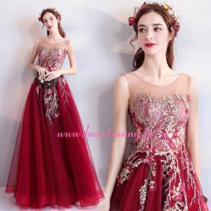 パーティードレス カラードレス 赤色 ワインレッドロング e303|heartsunny