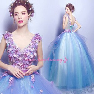 パーティードレス カラードレス 藍色 青色 空色 ブルー ロング e311|heartsunny
