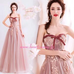 パーティードレス カラードレス ピンク色 ロング e312|heartsunny