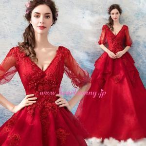 パーティードレス カラードレス 赤色 レッドロング e315|heartsunny