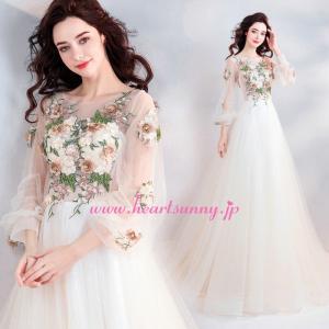 パーティードレス カラードレス 薄いクリーム/薄いシャンペン色 ロング e317|heartsunny