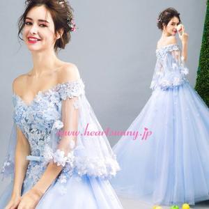 パーティードレス カラードレス 藍色 青色 空色 ブルー ロング e324 heartsunny