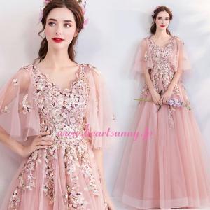 パーティードレス カラードレス ピンク色 ロング e327 heartsunny