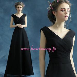 パーティードレス カラードレス ブラック 黒色 ロング e332|heartsunny
