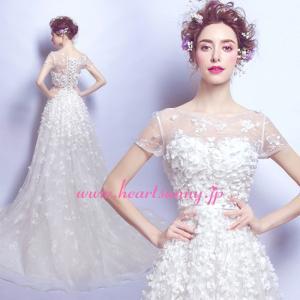 ウェディングドレス ボートネックフレンチ袖 花びら満載 トレーン 編み上げ E534|heartsunny