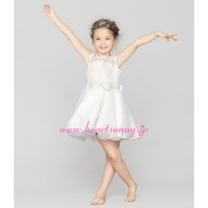 子供ドレス ワンピース 透明感ホローレース 前後蝶結び ハイネック オーガンジー F034 heartsunny