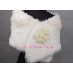 結婚式ボレロ 秋冬フェイクファーストール 花飾り レース付き 羽織り 防寒対策 P010|heartsunny