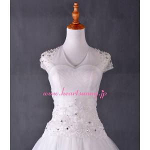 結婚式ボレロ Uネック袖なし 透明花柄レース 後ろ編み上げ P012 heartsunny