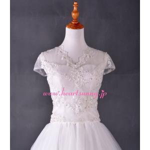 結婚式ボレロ Vネックフレンチ袖 透明花柄レース 後ろ編み上げ P013 heartsunny
