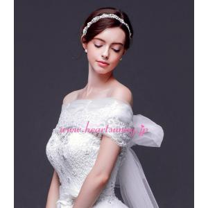 結婚式ボレロ 花柄レースストール ソフトチュールロングリボン P020 heartsunny