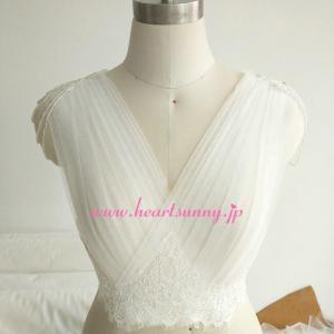 結婚式ボレロ 花柄レース 前後深Vネック袖なし 編み上げ 肩にビーズ P026 heartsunny