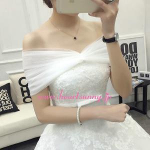 結婚式ボレロ やわらかい透明感Vネックショール フリーサイズ P043 heartsunny