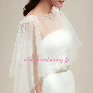 結婚式ボレロ 透明ボートネックチュールショール フリーサイズ P047 heartsunny