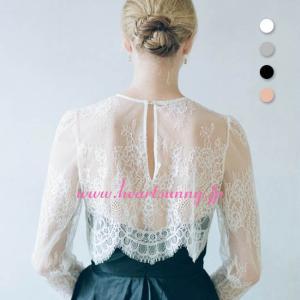 結婚式ボレロ 丸首透明花柄レース長袖 ホワイト ブラック ピンクの3色展開 P053 heartsunny