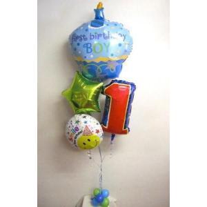 バルーン 誕生日 1歳 バルーンブーケ ファーストバースデーカップケーキボーイ|heartwrap
