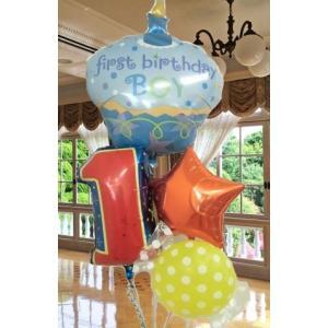 バルーン 誕生日 1歳 バルーンギフト ファーストバースデーカップケーキボーイ 送料無料|heartwrap