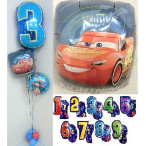 バルーン 誕生日  数字 ディズニー カーズ ヘリウムガス入り バルーンギフト 風船 飾り 電報|heartwrap