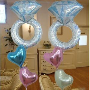 バルーン 結婚式 電報 バルーン電報 ウェディングリング 装飾 祝電 バルーンギフト おしゃれ|heartwrap