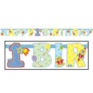 誕生日レターバナー【1歳誕生日レターバナーハグ&スティッチボーイ】 お誕生日会 装飾 デコレーション バースデー|heartwrap