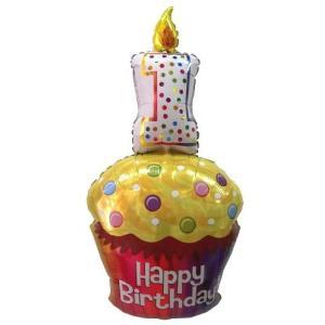 バースデーバルーン・1歳誕生日・バルーン電報・バルーンギフト ハッピーファーストバースデーカップケーキ|heartwrap|02