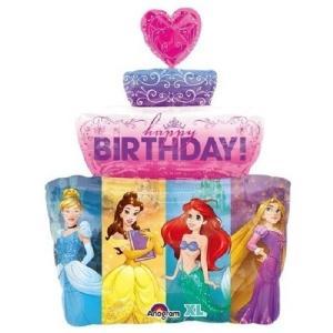プリンセス バースデイケーキ バルーン ディズニー 風船 誕生日 お祝い ヘリウムガス入り|heartwrap