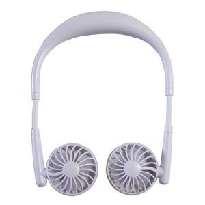 ツインネックファン USB充電式首かけ扇風機 HE-NTF001W ホワイト hearty-e