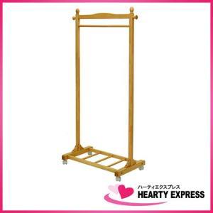 ヤマソロ 木製キャスター付きハンガー 40-330NA  ナチュラル 幅75.5cm|hearty-e