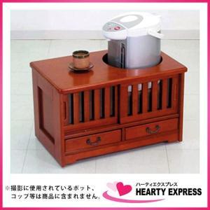 ヤマソロ お座敷ワゴン 40-919 ブラウン ポットワゴン キャスター付き|hearty-e