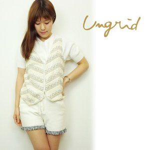 SALE50%OFF Ungrid(アングリッド)ビーズ刺繍ベスト  16春夏【111610100501】|hearty-select