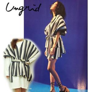 セール50%OFF Ungridアングリッド ストライプジャガードポンチョ  16春夏 111610401701|hearty-select