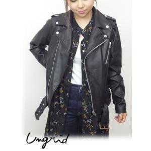 Ungrid(アングリッド)ラムレザーライダース  17秋冬【111740236701】|hearty-select