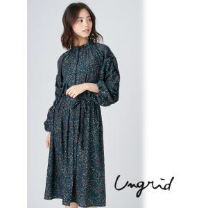 Ungrid(アングリッド)フラワープリントデザインロングガウン  17秋冬.【111750469001】|hearty-select
