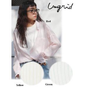 セール50%OFF  Ungrid アングリッド シースルーストライプルーズシャツ  18春夏. 1118304391|hearty-select