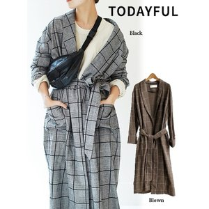 50%OFF TODAYFUL トゥデイフル Brushed Check Gown  18秋冬. 11820423ウールコート hearty-select