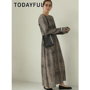 TODAYFUL  トゥデイフル Print Shirring Dress  19秋冬.予約 11920321 マキシワンピース プリントシアリングドレス|hearty-select