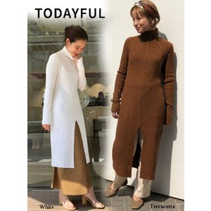 TODAYFUL  トゥデイフル Slit Ribknit Onepiece  19秋冬.予約 11920332|hearty-select